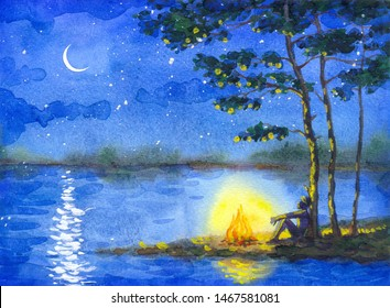 Hand draw color paint on artist scenery text space. Bright blue pine starry scene. Romantic lonely hiker rest sit at hot wood burn flare. Fall picnic. Calm bank of pond bay trip wild park scenic view