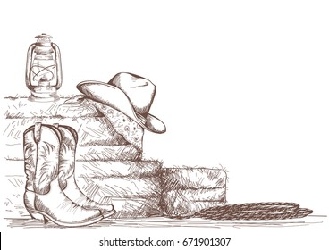 Hand draw cowboy background with western boots and west hat and equipment for riding horses.Raster