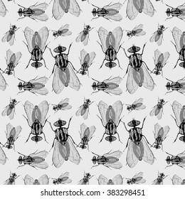 Hand draw housefly pattern