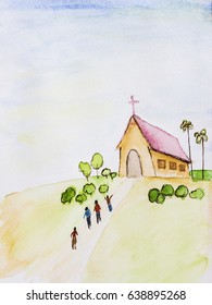 hand draw and painted  of people going to church on hill with nice landscape view and nice blue sky  by watercolor on paper. can be used for christian background, copy space.