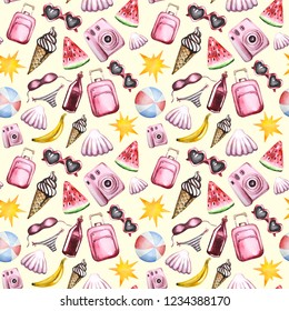 Hand draw seamless pattern summer vacation and travel set with painted fashion girl elements in watercolor style. Flat laytourism pink objects: sunglasses, shell, photo camera,suitcase