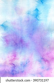 Hand draw watercolor blue and violet abstract background.