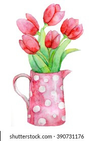 Hand draw watercolor bouquet of tulips in a pot with polka dots.