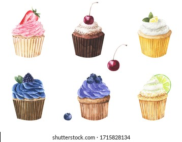 Hand draw watercolor illustration with cherries, lime, lemon, strawberries, blueberries, blackberries  cupcakes. Perfect for greeting cards, postcards, posters, stickers, textile and other design.
