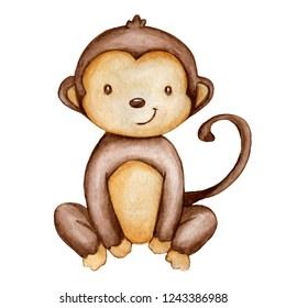 Hand draw watercolor monkey isolated