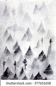 hand draw watercolor mountains, trees, landscape,