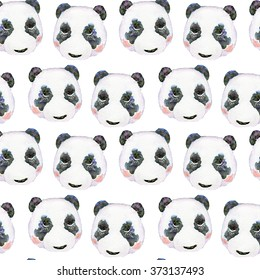 Hand draw watercolor naive pattern of panda head. For design textiles, wallpaper, backgrounds, children's items.