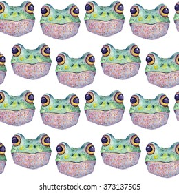 Hand draw watercolor naive pattern of frog head.  For design textiles, wallpaper, backgrounds, children's items, wrapping paper.