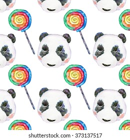 Hand draw watercolor naive pattern of panda head and colored spiral lollipops.  For design textiles, wallpaper, backgrounds, wrapping paper, children's items.