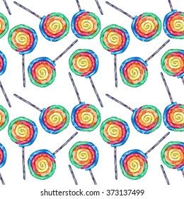 Hand draw watercolor pattern of colored spiral lollipops.  For design textiles, wallpaper, backgrounds, children's items, wrapping paper.