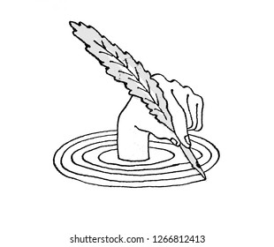 Hand drawing around itself a spiral with a quill pen. Satirical drawing.