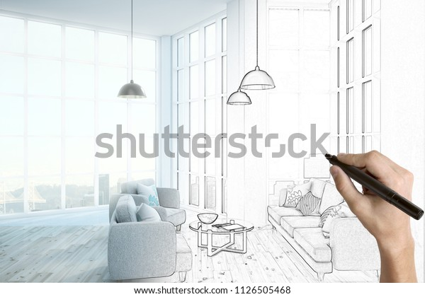 Hand Drawing Beautiful Room Interior Design Stock