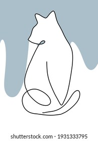 Hand drawing black one line contour cat with white and blue background.