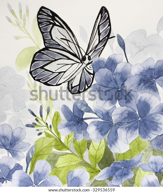 Hand Drawing Blue Flowers Butterfly Backgrounds Stock