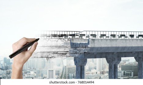 Hand drawing bridge on abstract city background. Engineering and project concept. 3D Rendering