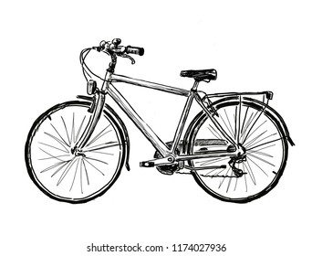 Hand drawing of a city bicycle