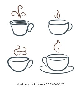 Hand drawing coffee cup and mag for your design, stock illustration