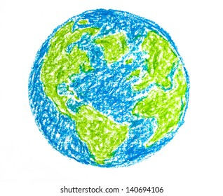Hand drawing colorful crayon earth, isolated on white background