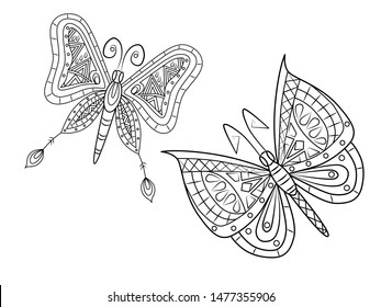 Hand drawing coloring butterflies for kids and adults. Beautiful drawing with small details. One of a series of coloring pictures.