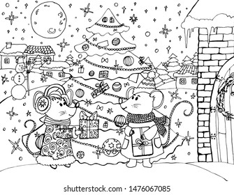 Hand drawing coloring for kids and adults. Merry Christmas and Happy New Year. Mouse. Rat, Christmas tree, decorations. One of a series of coloring pictures.