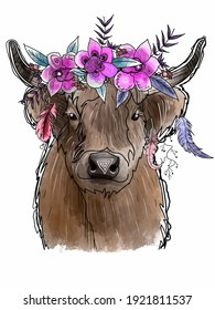 Hand drawing of a cow and watercolor flowers.