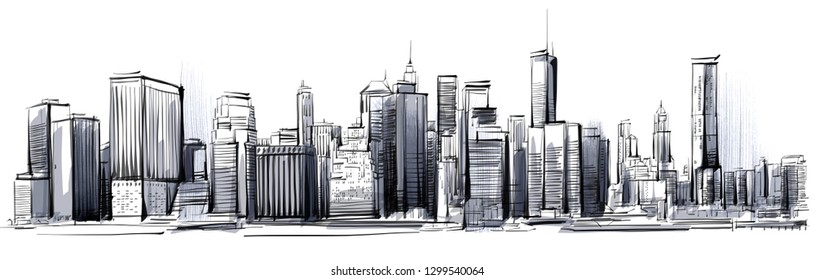 Hand drawing digital New York Skyline. isolated on white Background