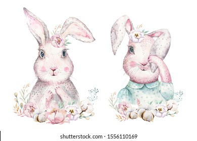 Hand drawing easter watercolor cartoon bunnies with leaves, branches and feathers. indigo Watercolour rabbit holiday illustration in vintage boho style. Bunny cards.
