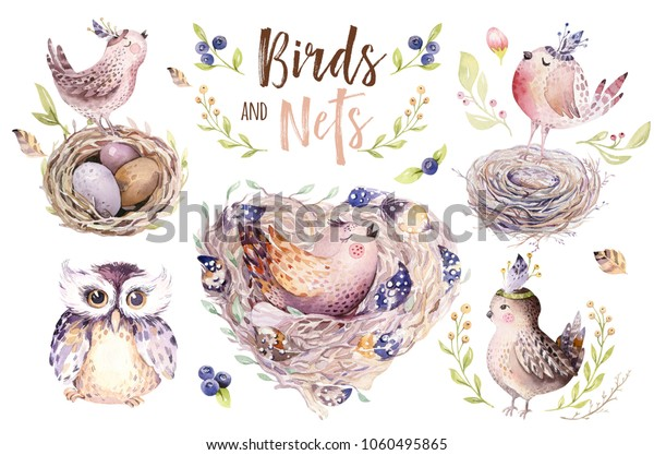 Hand drawing easter watercolor flying cartoon bird and eggs with leaves, branches and feathers. indigo Watercolour art illustration in vintage boho style. Greeting bohemian cards.