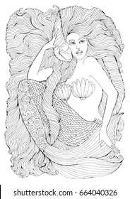 Hand drawing fantastic sea mermaid with long wavy hair holds a seashell. Ornamental decorated graphic illustration of a mermaid tattoo. Coloring  page sea nymph. Fairy tale characters.