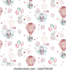 Hand drawing fly cute easter pilot bunny watercolor cartoon bunnies with airplane and balloon in the sky textile pattern. Turquoise watercolour textile illustration