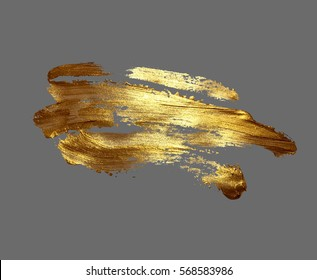 hand drawing gold brush stroke paint spot on a gray background, handmade raster version illustration