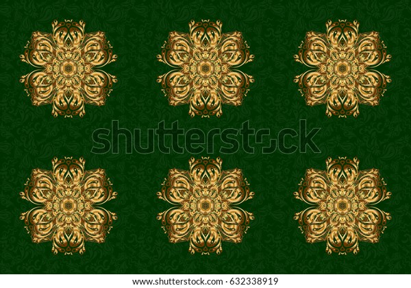 Hand drawing gold star with elegant element isolated on a green background. Raster illustration.