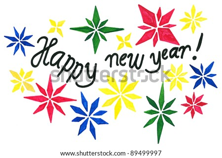 hand drawing happy new year greeting card my original ink drawing