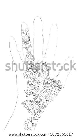 Royalty Free Stock Illustration Of Hand Drawing Henna Tattoos