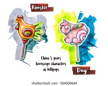 hand drawing horoscope animal as lollipops, rooster and dog