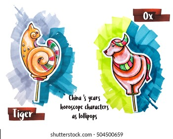 hand drawing horoscope animal as lollipops, tiger and ox