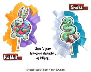 hand drawing horoscope animal as lollipops, rabbit and snake