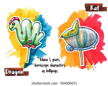 hand drawing horoscope animal as lollipops, dragon and rat