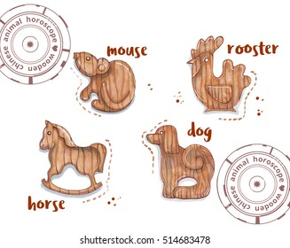hand drawing horoscope animal, wooden toys