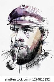 Hand drawing Image. Picture shows an old ship captain with pipe. This is only Pixel graphic with watercolor parts.
