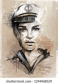 Hand drawing Image. Picture shows an ship captain womane. This is only a Pixel graphic with watercolor parts.