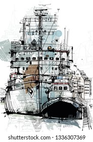 Hand drawing Image. Picture shows old ships on white. Free created image.