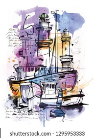 Hand drawing Image shows two ships and 2 lighthouses. Made wirht mixed media.