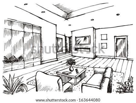 Hand Drawing Interior Design Living Room Stock Illustration New Drawing Interior Design Set