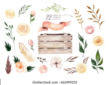 Hand drawing isolated boho watercolor floral illustration with leaves, branches, flowers, wooden box. Bohemian greenery art in vintage style. Elements for wedding card.