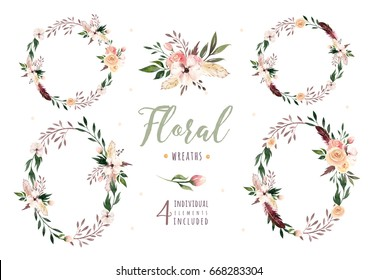Hand drawing isolated boho watercolor floral illustration with leaves, branches, flowers. Bohemian greenery art in vintage style. Elements for greeting wedding card.