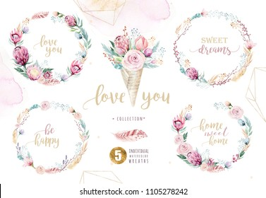 Hand drawing isolated watercolor floral illustration with protea rose, leaves, branches and flowers. Bohemian gold crystal frame, bouquets and wedding wreath
