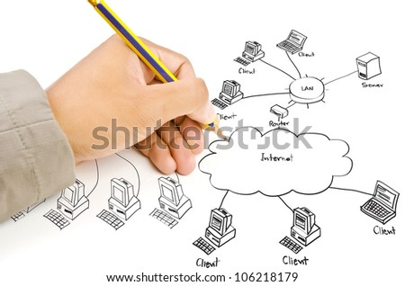 Hand Drawing Lan Diagram On Whiteboard Stock Illustration 106218179