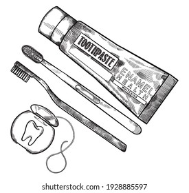 Hand drawing, line art, engraving, ink Dental Cleaning Tools Illustration. Toothpaste, toothbrush and tooth floss. Isolated in white background. For medical poster and brochure.
