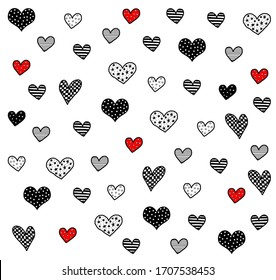 Hand drawing little hearts, different design pattern, line illustration, heart pattern background, textile fashion print ready black and white